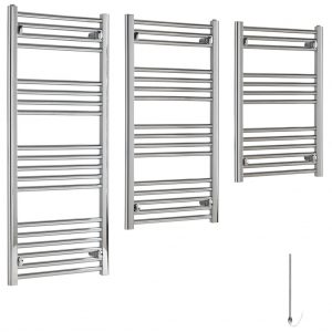 Aura 22 Budget Electric Towel Warmer (Chrome). Splash Proof (IP67), Prefilled With Glycol, Ready For Connection. Shop For Cheap Towel Radiators >