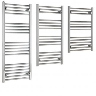 Aura 22 Budget Towel Warmer - Central Heating (Chrome). Small, Medium Size. Good Quality - Low Price. For Kitchen, Bathroom. Towel Radiators Shop Online