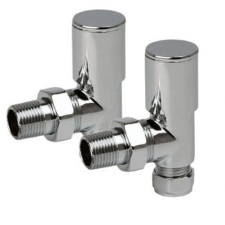Round Angled Chrome Radiator Valves For Heated Towel Rails