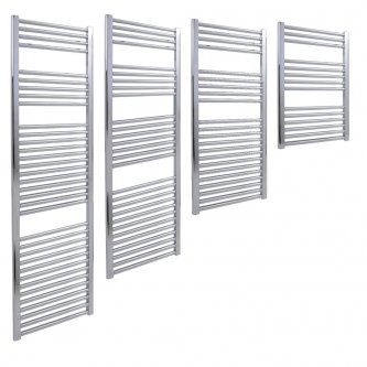 Aura 25 Straight Towel Warmer - Central Heating (Chrome / White)