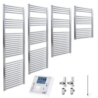 Aura 25 Straight Heated Towel Rail, Chrome - Dual Fuel + Fused Spur Timer