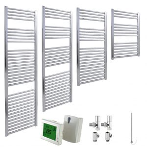 Aura 25 Straight Heated Towel Rail, Chrome - Dual Fuel + Wireless Timer, Thermostat