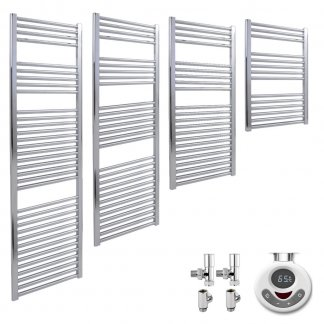 Aura 25 Straight Chrome Dual Fuel Electric Towel Warmer. Thermostatic With Timer