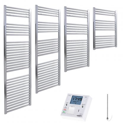 Aura 25 Straight Heated Towel Rail, Chrome - Electric + Fused Spur Timer