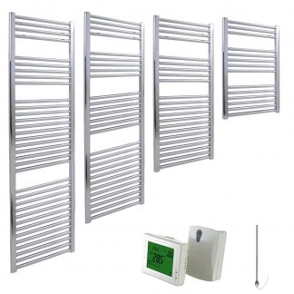 Aura 25 Straight Heated Towel Rail, Chrome - Electric + Wireless Timer, Thermostat