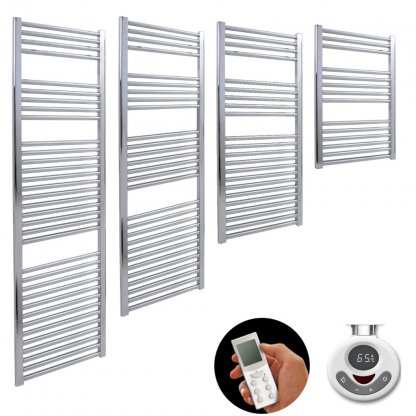 Aura 25 Straight Thermostatic Electric Heated Towel Rail With Timer (Chrome / White)