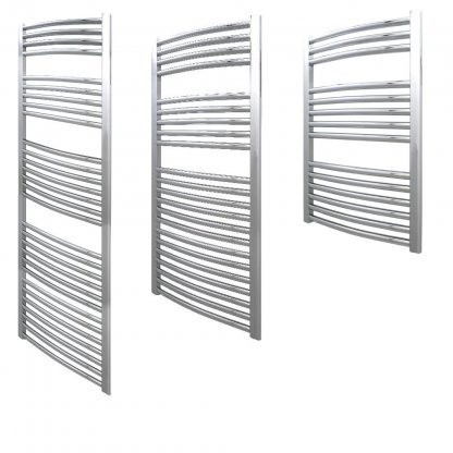 Aura 25 Curved Heated Towel Rail - Central Heating (Chrome / White)