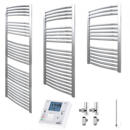 Aura 25 Curved Heated Towel Rail, Chrome - Dual Fuel + Fused Spur Timer