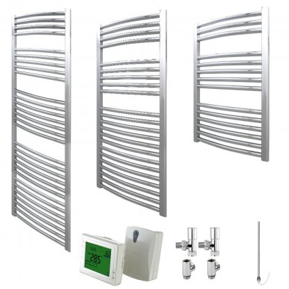 Aura 25 Curved Heated Towel Rail, Chrome - Dual Fuel + Wireless Timer, Thermostat