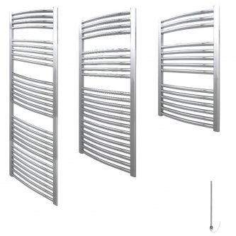 Aura 25 Curved Electric Heated Towel Rail (Chrome / White)