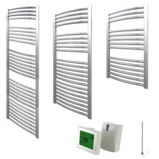 Aura 25 Curved Heated Towel Rail, Chrome - Electric + Wireless Timer, Thermostat