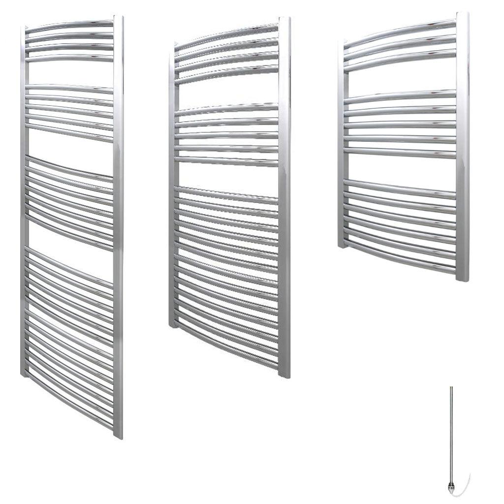 Aura 25 Curved Electric Heated Towel Rail (Chrome / White)