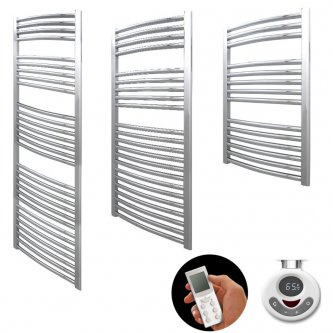 Aura 25 Curved Thermostatic Electric Heated Towel Rail With Timer (Chrome / White)