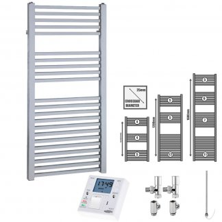 Aura Cube Square Tube Heated Towel Rail, Chrome - Dual Fuel + Fused Spur Timer