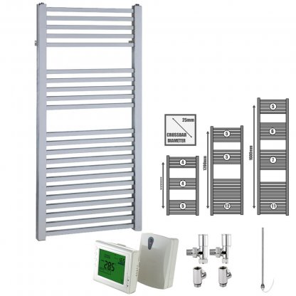 Aura Cube Square Tube Heated Towel Rail, Chrome - Dual Fuel + Wireless Timer, Thermostat
