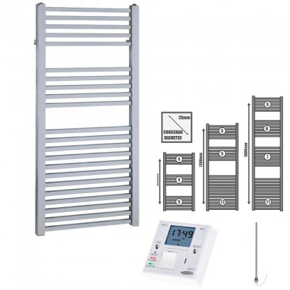 Aura Cube Square Tube Heated Towel Rail, Chrome - Electric + Fused Spur Timer