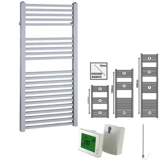 Aura Cube Square Tube Heated Towel Rail, Chrome - Electric + Wireless Timer, Thermostat