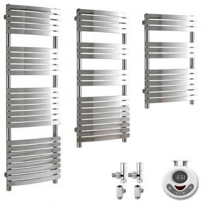 Aura Curve Dual Fuel Thermostatic Heated Towel Rails With Timer