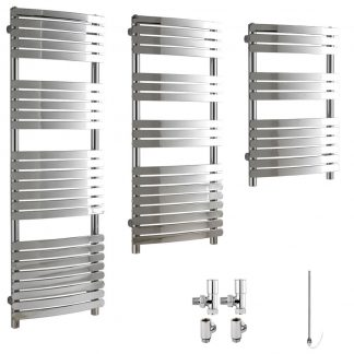 Aura Curve Flat Panel Dual Fuel Towel Warmer (Chrome)