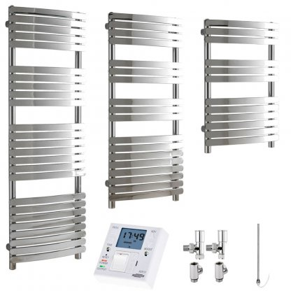 Aura Curve Flat Tube Heated Towel Rail, Chrome - Dual Fuel + Fused Spur Timer