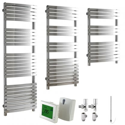 Aura Curve Flat Tube Heated Towel Rail, Chrome - Dual Fuel + Wireless Timer, Thermostat