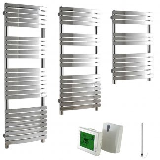 Aura Curve Flat Tube Heated Towel Rail, Chrome - Electric + Wireless Timer, Thermostat