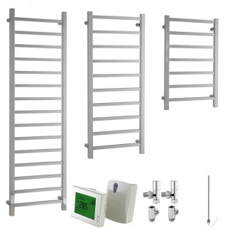 Aura Quadro Square Tube Heated Towel Rail, Chrome - Dual Fuel + Wireless Timer, Thermostat