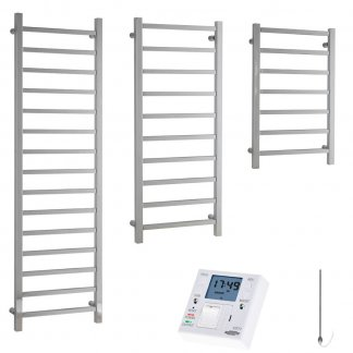 Aura Quadro Square Tube Heated Towel Rail, Chrome - Electric + Fused Spur Timer