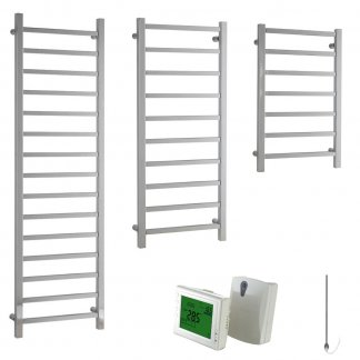 Aura Quadro Square Tube Heated Towel Rail, Chrome - Electric + Wireless Timer, Thermostat