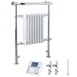 Aura Rex Traditional Victorian Heated Towel Rail - Dual Fuel + Fused Spur Timer