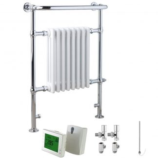 Aura Rex Traditional Victorian Heated Towel Rail - Dual Fuel + Wireless Timer, Thermostat