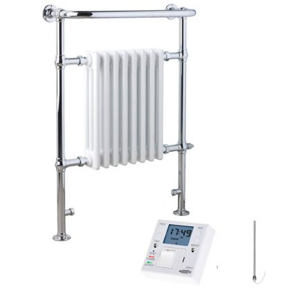 Aura Rex Traditional Victorian Heated Towel Rail Radiator - Electric + Fused Spur Timer