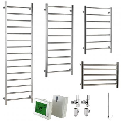 Aura Ronda Modern Heated Towel Rail, Chrome - Dual Fuel + Wireless Timer, Thermostat