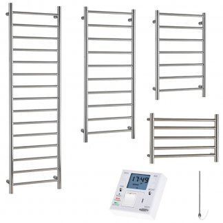 Aura Ronda Modern Heated Towel Rail, Chrome - Electric + Fused Spur Timer