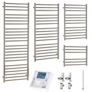Aura Steel Stainless Steel Heated Towel Rail - Dual Fuel + Fused Spur Timer