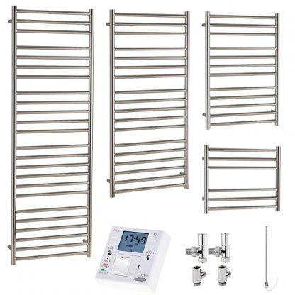Aura Steel Stainless Steel Heated Towel Rail - Dual Fuel + Fused Spur Timer
