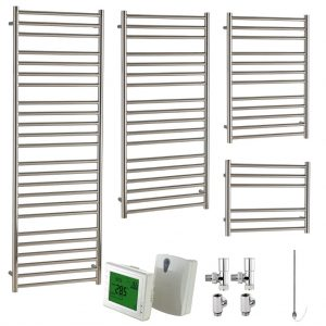 Aura Steel Stainless Steel Heated Towel Rail - Dual Fuel + Wireless Timer, Thermostat