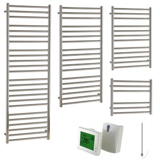 Aura Steel Stainless Steel Modern Heated Towel Rail - Electric + Wireless Timer