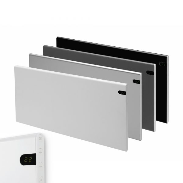 Adax Neo Electric Panel /Heater + Timer, Wall Mounted. In White, Black Silver & Grey