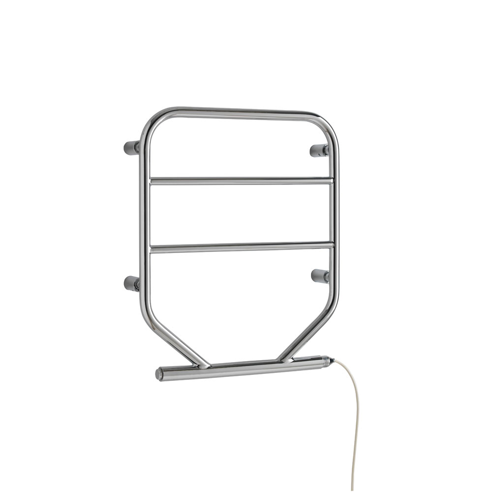 Small Compact Electric Heated Towel Rail In Chrome White
