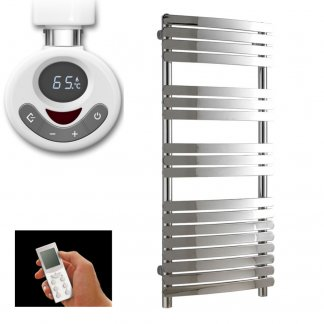 550 x 1200 Curved Flat Panel Thermostatic Heated Towel Rail With Timer - The Greeba
