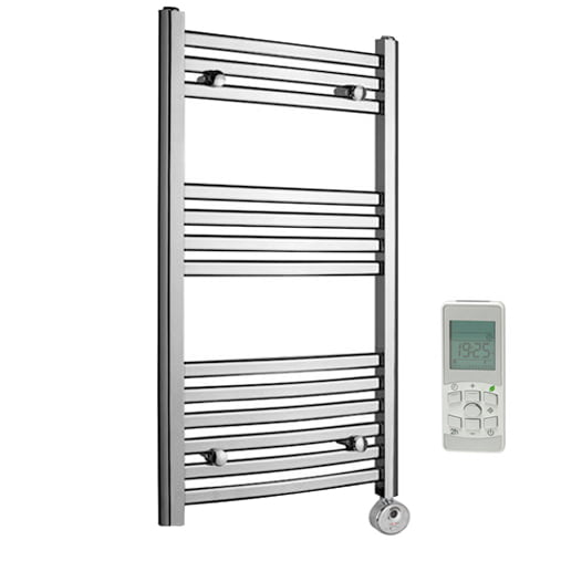 Heated Towel Rails Electric Chrome: Aura Convex Curved Flat Panel Thermostatic Electric Towel