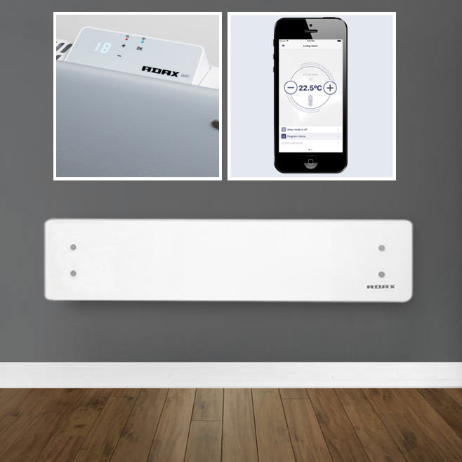 Adax Clea Wifi Low Profile Glass Electric Wall Heater With