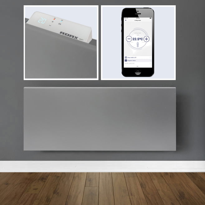 ADAX NEO WIFI LAVA GREY Electric Wall Heater, Smartphone Controlled Convector Radiator, Home Automation, Wall Mounted, Modern, Stylish