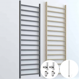 Aura Ronda Round Tube Dual Fuel Towel Warmer. In Lava Grey Or Beach. For Central Heating and Electric. Small, Medium Or Large Size. Buy Heated Towel Rails