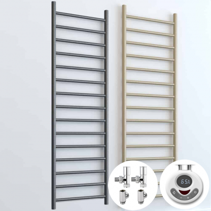 Aura Ronda Round Tube Dual Fuel Towel Warmer. Thermostatic With Timer in Lava Grey or Beach.. Adjustable Thermostat / Heat Control. Buy Modern, Energy Saving Towel Radiators