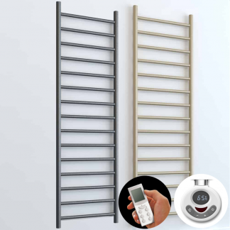 Aura Ronda Round Tube Electric Towel Warmer. Thermostatic With Timer And Remote Control in Lava Grey or Beach. Buy Energy Saving LOT 20 / ErP Compliant Designer Towel Radiators