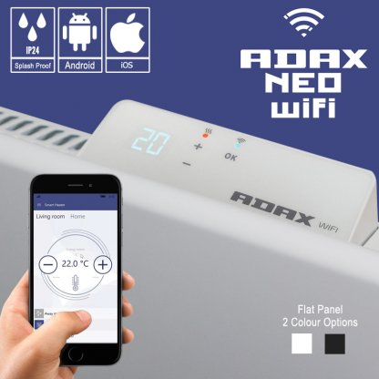 Adax Neo Wifi Low Profile Electric Wall Heater With Timer, Modern