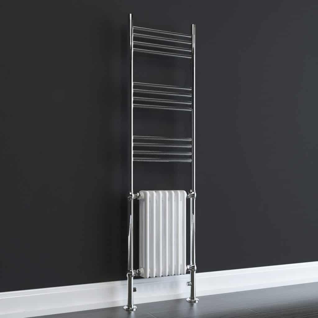 Aura 25 Curved Electric Towel Warmer Chrome White: Aura Dux Traditional Electric Towel Warmer (White / Grey