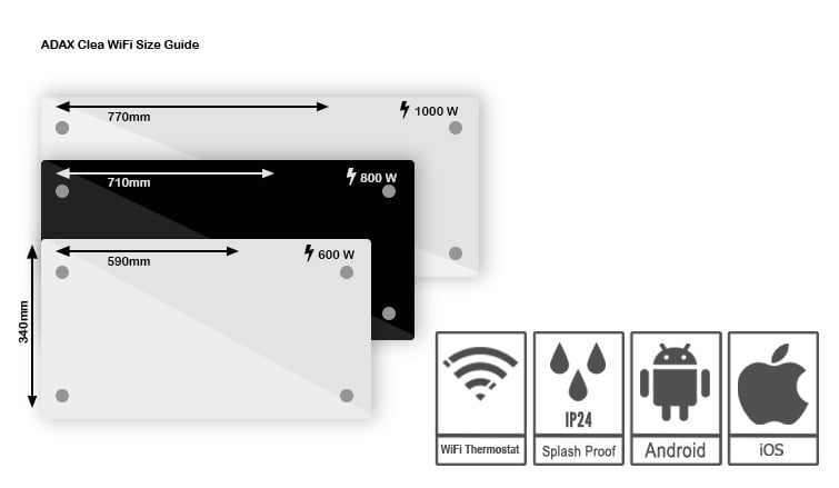 Adax Clea Wifi Glass Electric Wall Heater With Timer, Dimensions, Sizes